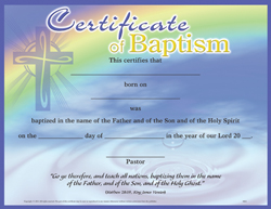 25 CERTIFICATE OF BAPTISM